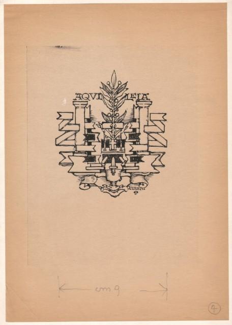 CISARI GIULIO (Como 1892 '– Milano 1979). - BOZZETTO disegnato a china raffig. un gladio, un  piccolo altare, un ramo d''alloro, motivi decorativi e la parola Aquileia.