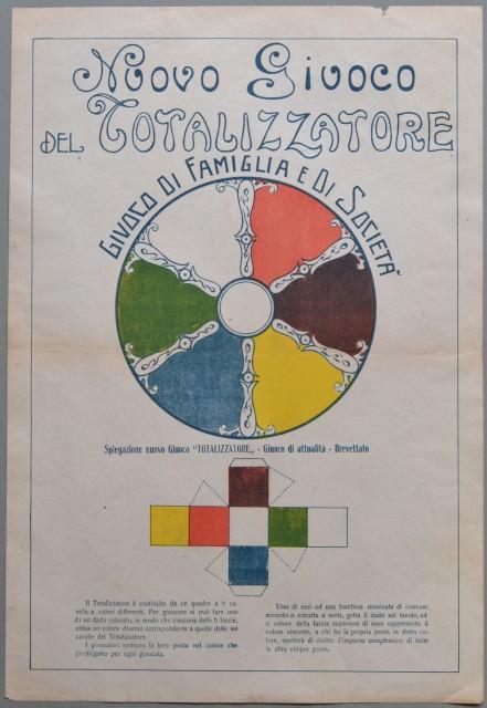 NUOVO GIUOCO DEL TOTALIZZATORE. Giuoco di famiglia e di società. Foglio di cm 30x44 stampato a colori.