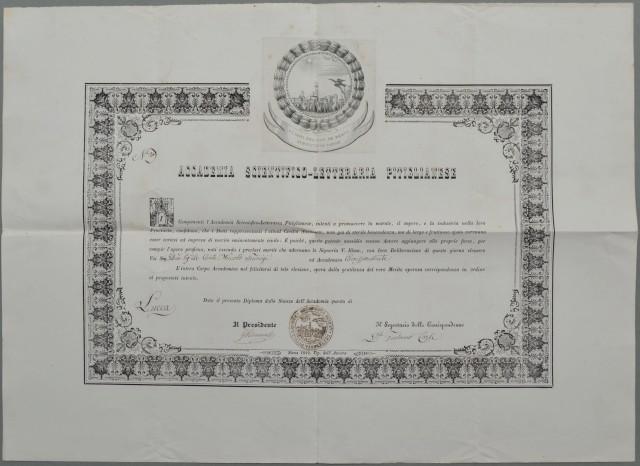 DIPLOMA rilasciato nel 1849 dal'' ACCADEMIA SCIENTIFICO-LETTERARIA PITIGLIANESE.