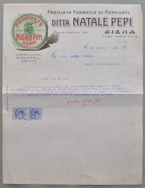 SIENA. Vecchia fattura (anno 1928). PANFORTI PEPI.