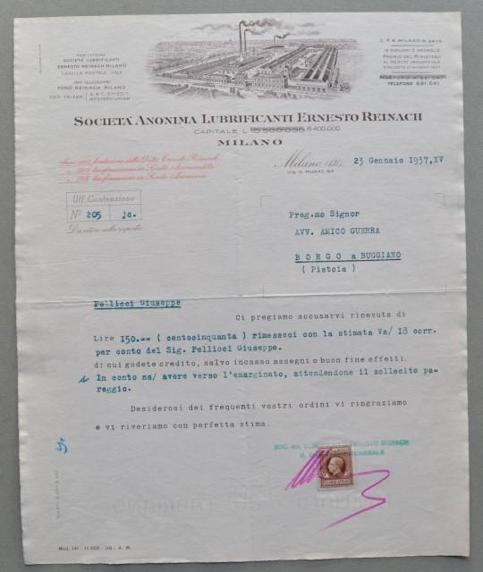 MILANO. Vecchia fattura anno 1937. SOCIETA' ANONIMA LUBRIFICANTI ERNESTO REINACH.