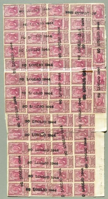 Marche da bollo. FATTURA del 30.7.1944 con applicate 90 marche da bollo da lire 20.