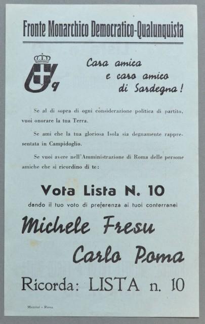 FRONTE MONARCHICO DEMOCRATICO - QUALUNQUISTA. Volantino di propaganda elettorale del 1946.