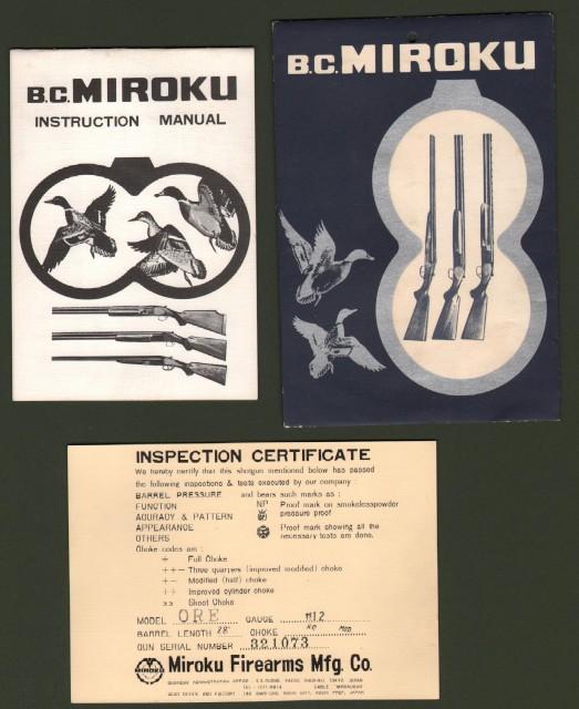 ARMI. CACCIA. Depliant pubblicitario MIROKU (fucili, pistole, munizioni, ecc..), pagine 12 con illustrazioni.