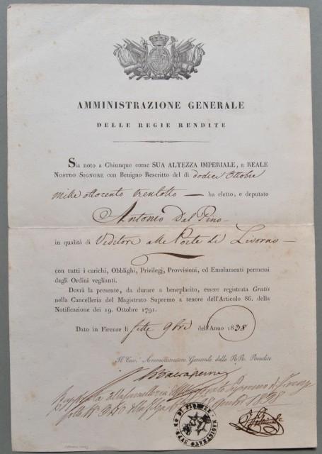 Nomina a UDITORE ALLE PORTE DI LIVORNO. Documento del 1838 a firma di Giovanni Baldasseroni (ministro delle finanze del Granducato di Toscana)