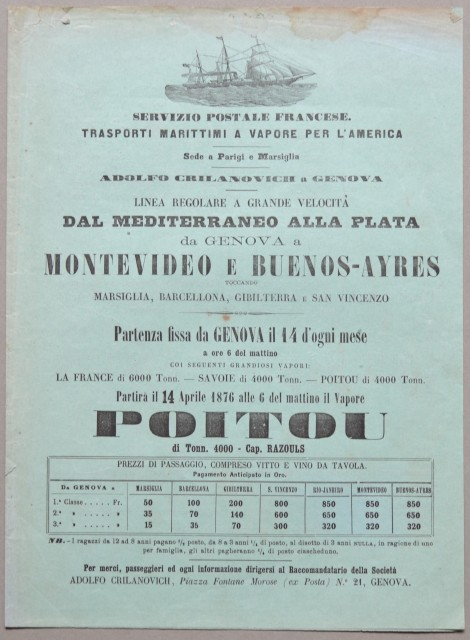 NAVIGAZIONE. Servizio postale. Linea regolare da Genova a Montevideo a Buenos-Ayres.
