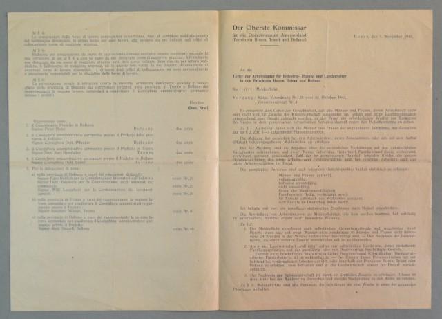 REPUBBLICA SOCIALE ITALIANA. Provincia di Bolzano, Trento e Belluno. Circolare bilingue, del 1943. Auto denuncia di tutti i lavoratori,presenti nelle province, allo scopo di sostenere l'industria bellica.