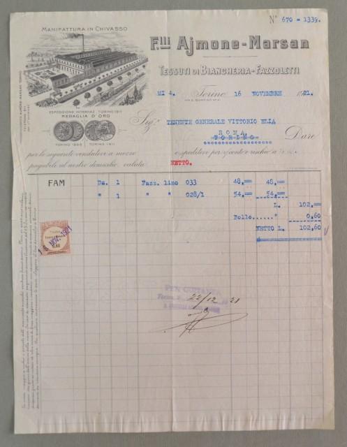 Piemonte. CHIVASSO - TORINO. Vecchia fattura anno 1921. TESSUTI F.LLI AIMONE - MARSAN.