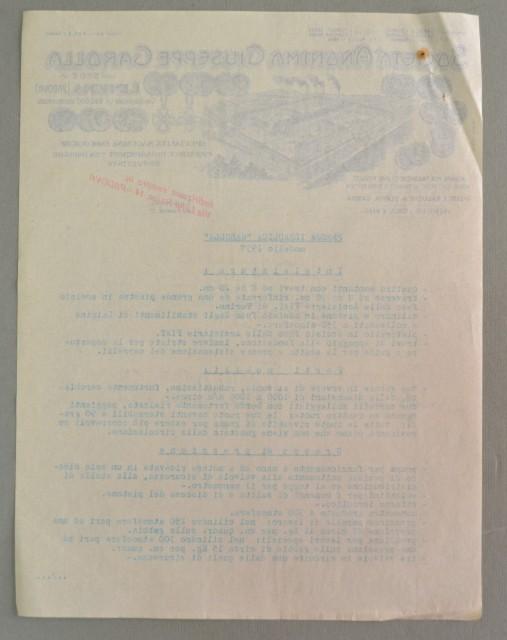 Veneto. LIMENA - PADOVA. Vecchia fattura anno 1937. GAROLLA MACCHINE ENOLOGICHE.