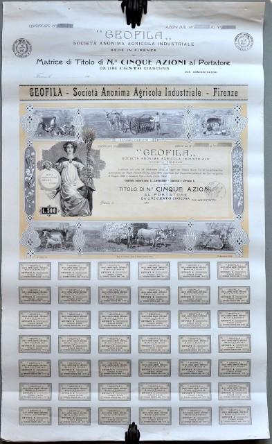 """CERTIFICATO AZIONARIO. '""""GEOFILA '– Società Anonima Industriale '– Firenze'"""", costituita nel 1905."""