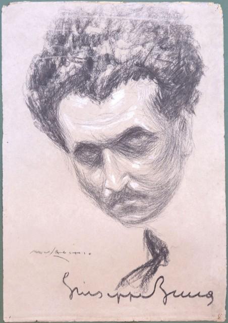 """ZUCCA Giuseppe (Messina 1887 '– Roma 1959). Scrittore, fondò nel 1926 a Roma la Casa Editrice '""""Il Fanno'"""" per libri umoristici e fu tra i fondatori della '""""Fanno Film'"""". Carboncino e biacca su cartoncino. Firmato Musacchio e con la firma autografo di Giu"""