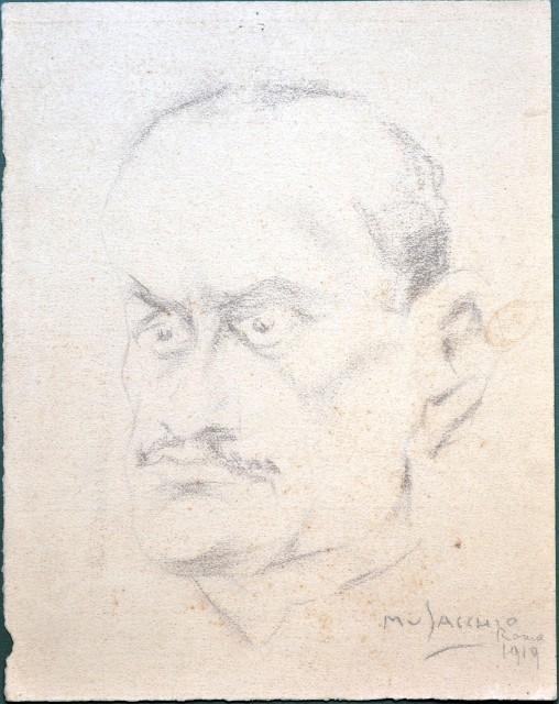 ANONIMO. Ritratto eseguito a carboncino su cartoncino (cm 26,3x33,3) e firmato Musacchio e datato Roma 1919.