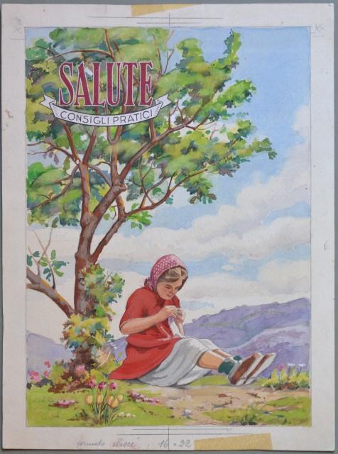 BOZZETTO ORIGINALE realizzato a tempera per la sovracoperta della rivista SALUTE (novembre 1948).