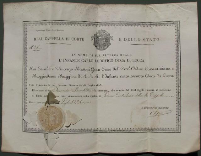 NOMINA a Primo Contrabbasso della R. Cappella. Lucca 1825.