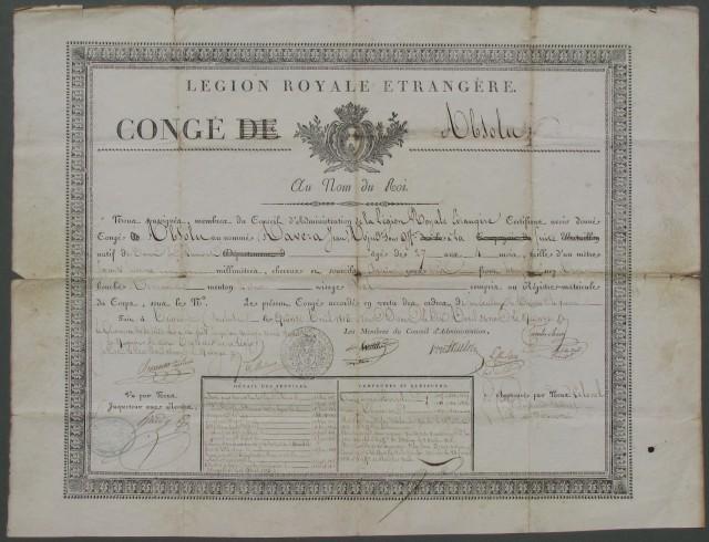 LEGIONE STRANIERA FRANCESE. Foglio di cm 46x35 del 1816 contenente certificazione di congedo di un militare nativo di Torino.