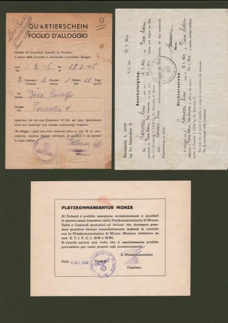 REPUBBBLICA SOCIALE ITALIANA.  Tre documenti di comandi tedeschi.
