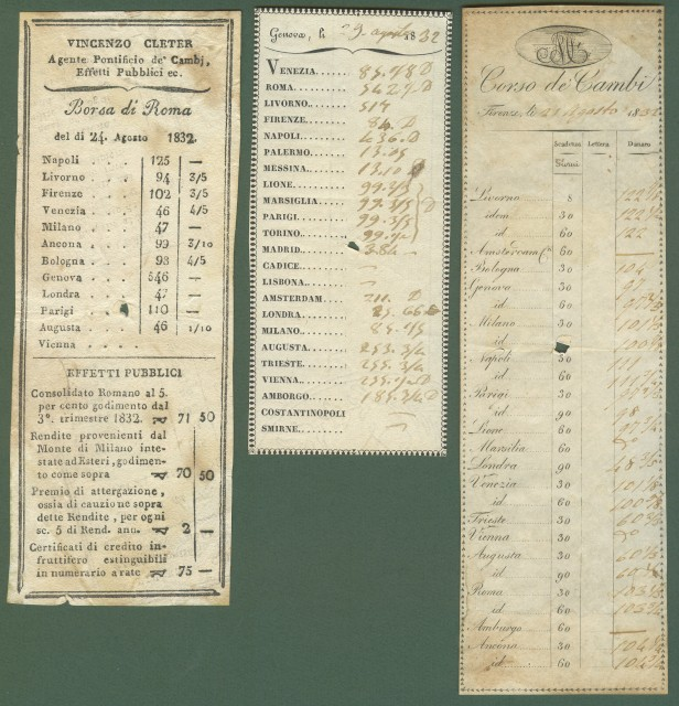 ANTICHI DOCUMENTI DI BORSA E DI BANCA. Anno 1832.