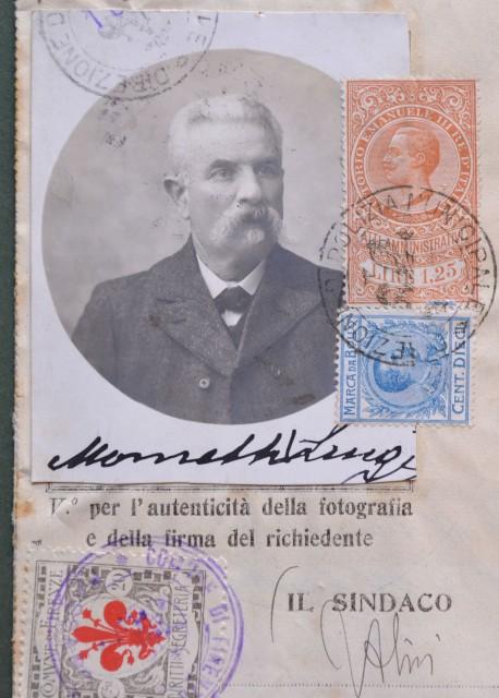 PASSAPORTO per l'interno rilasciato a Firenze nel 1917.