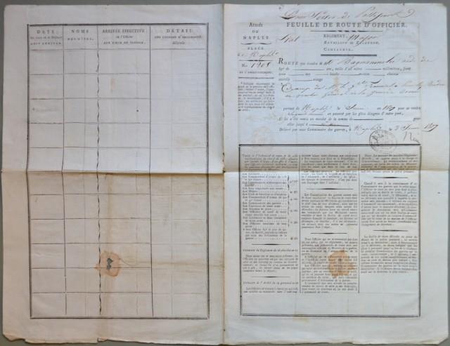 PASSAPORTO, anno 1807. Feuille de route d''officer. Pour Servir de Passeport. Documento, bifolio a stampa di cm 28x43, dell''Armata di Napoli rilasciato in Napoli il 2 giugno 1807.