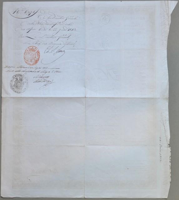 PASSAPORTO NAPOLEONICO. Documento di cm 33x40 rilasciato a Torino il 22 giugno 1813 a firma del generale Alex Lameth.