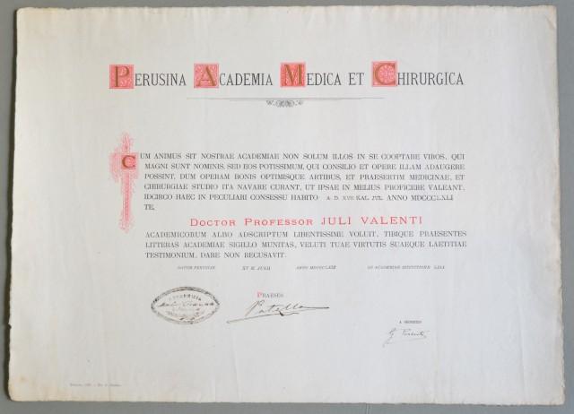 DIPLOMA  dato nel 1896 di accettazione all''ACCADEMIA PERUGINA DI MEDICINA E CHIRURGIA.