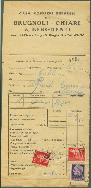 Italia Luogotenenza. Bolletta di corriere del 4.10.1945