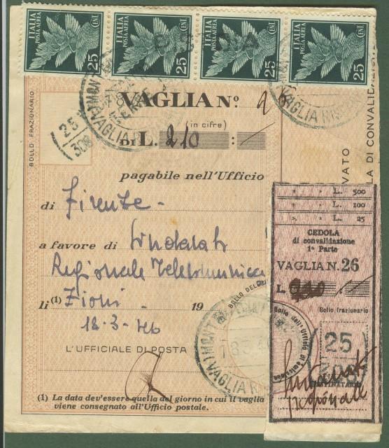 Italia Luogotenenza. Modulo vaglia (parte A) del 18.3.1946