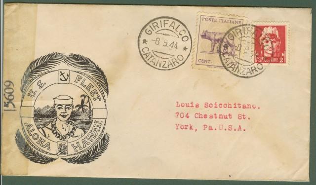 Luogotenenza. Lettera del 8.9.1944 da Girifalco (Catanzaro) per gli U.S.A.