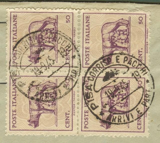 Luogotenenza. Lettera del 19.9.1945 da Pisa a Firenze