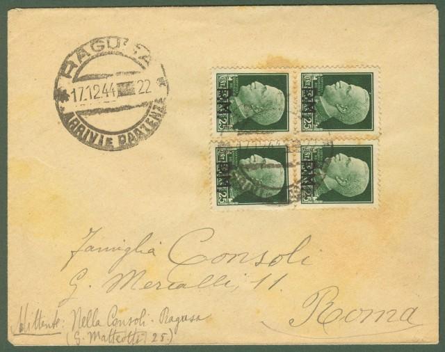 Luogotenenza. Lettera da Ragusa a Roma del 17.12.1944.