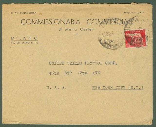 Luogotenenza. Lettera del 3.2.1946 da Milano per gli U.S.A..
