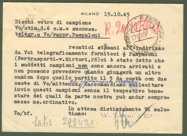 Luogotenenza. Lettera espresso del 15.10.1945