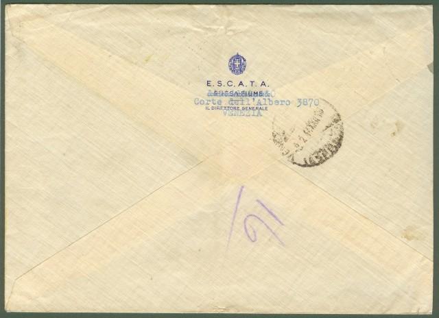 Repubblica Sociale Italiana. Lettera espresso da venezia a Udine del 8.2.1944.