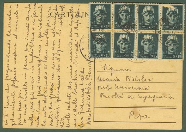 Luogotenenza. Cartolina postale da cent. 30 bruno Mazzini di R.S.I.