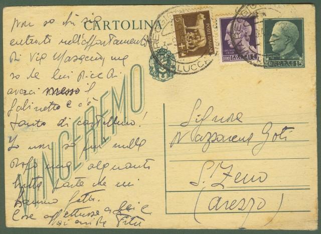 Luogotenenza. Cartolina postale da cent. 15 verde tipo Vinceremo
