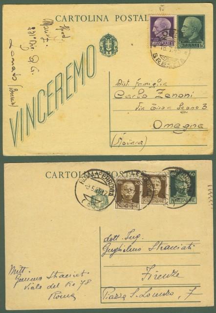 Luogotenenza. Due cartoline postali del maggio e giugno 1945.