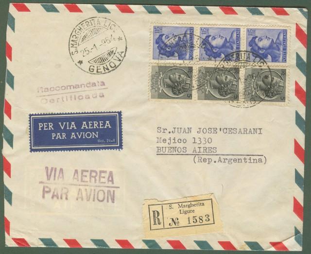 Repubblica. Aerogramma. Lettera raccomandata del 25.1.1964.