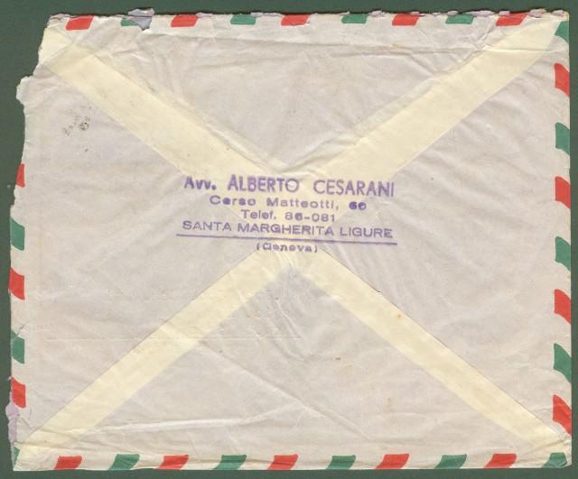 Repubblica. Aerogramma. Lettera raccomandata del 25.5.1960 per l'Argentina