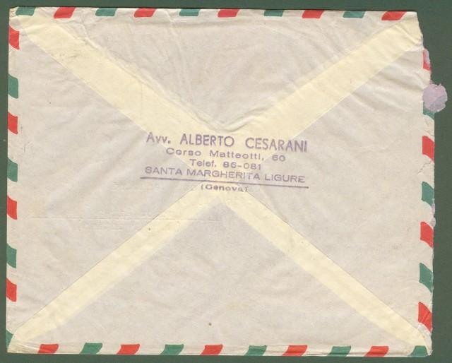 Repubblica. Aerogramma. Lettera raccomandata del 19.12.1959 per l'Argentina