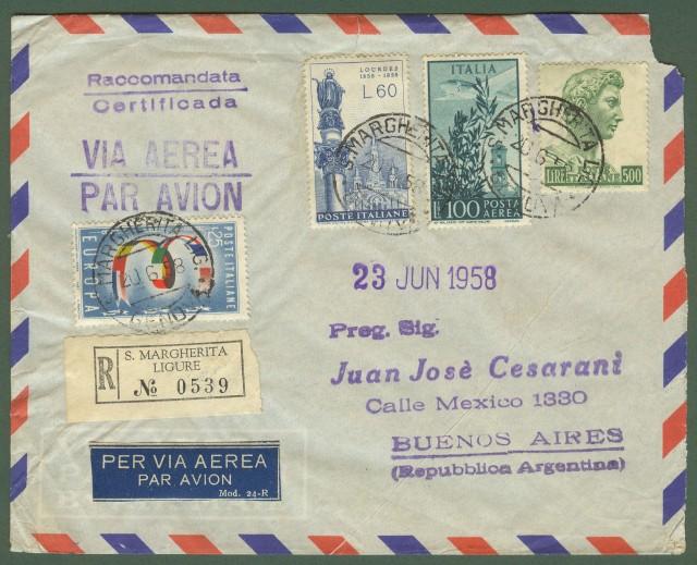 Repubblica. Aerogramma. Lettera raccomandata per Buenos Aires
