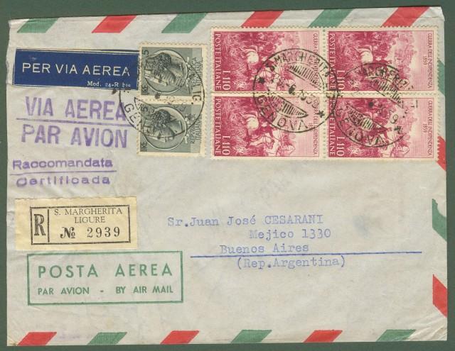 Repubblica. Aerogramma. Lettera raccomandata del 29.8.1959