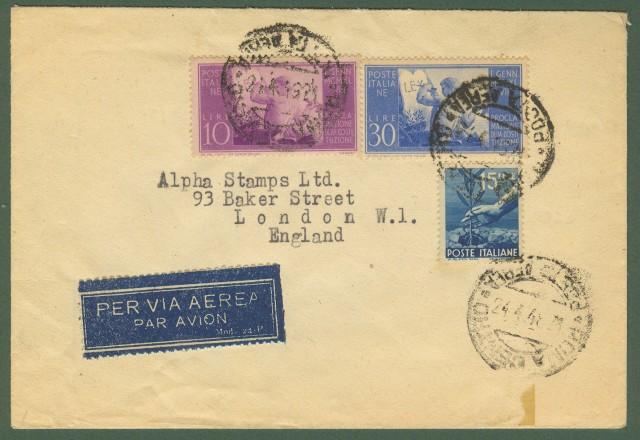 Repubblica. Aerogramma. Lettera per l'Inghilterra del 24.4.1948