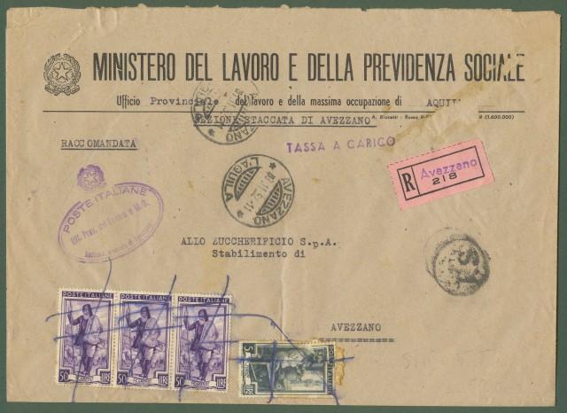 REPUBBLICA. Lettera raccomandata in tassa a carico del 3.11.1952 interna ad Avezzano.