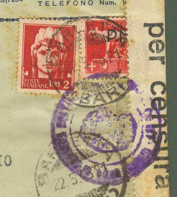 LUOGOTENENZA. Lettera espresso del 22.5.1945 da Barletta a Bari.