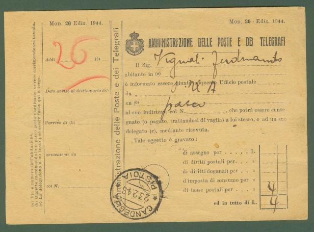 LUOGOTENENZA. Avviso di pacco del 25.2.1946.
