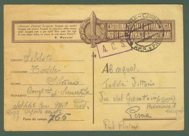 REPUBBLICA SOCIALE ITALIANA. Cartolina postale in franchigia per le forze armate repubblicane.