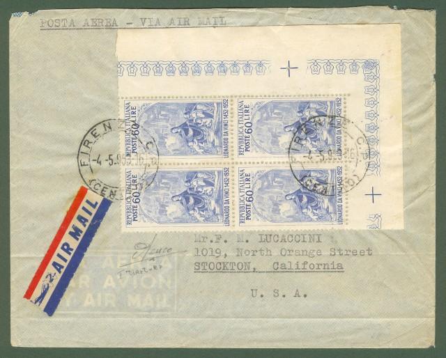 Repubblica. Aerogramma del 4.5.1953 per gli U.S.A. affrancato con quartina lire 60 Leonardo da Vinci.