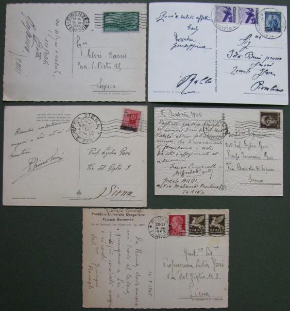 LUOGOTENENZA - REPUBBLICA. Insieme di cinque cartoline illustrate, periodo 1945-1949.