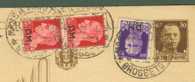 LUOGOTENENZA. Cartolina postale da cent. 30 bruno tipo Vinceremo con aggiunti cent. 50 violetto e coppia cent. 20 carminio tutti sovrastampati P.M..