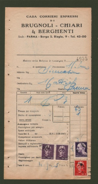 BOLLETTA di spedizione del 4.9.1945 con applicati lire 1 + lire 2 + coppia cent. 50 luogotenenza annullati con bollo privato a data.
